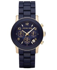 Michael Kors Watch, Women's Runway Navy Blue Polyurethane-Wrapped Gold-Tone Stainless Steel Bracelet 38mm MK5316 - All Watches - Jewelry & Watches - Macy's