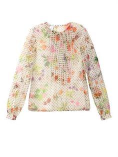 Floral polka-dot chiffon blouse