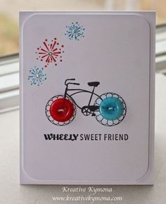 Button Bike Greeting Card. A simple and sweet card idea for your best friends. http://hative.com/fun-and-cute-diy-button-crafts/