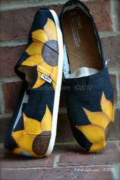 Sunflower Power Hand Painted Custom TOMS® Shoes  Black Canvas