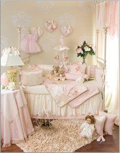 soft pink, cream, ivory, baby girl's nursery crib