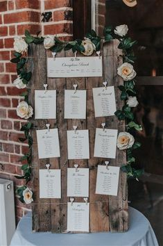 Carrie and Lloyd's Autumnal Berkshire Wedding with Anthem Rustic wooden Wedding seating plan idea. Wedding seating plan with autumn flowers and diy calligraphy. See more from Carrie & Lloyds wedding here – www. Wedding Table Seating, Diy Wedding Tables, Diy Wedding Deco, Wedding Blog, Wedding Table Assignments, Wooden Wedding Signs, Wedding Tips, Wedding Planning Tips, Reception Decorations