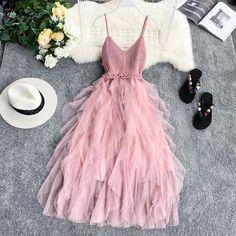 FTLZZ New Women Tulle Dress Summer High Waist Mesh Dress Hem Asymmetrical Pleated Dress Female Slim Fairy Dresses Mesh Dress, Tulle Dress, Boho Dress, Dress Up, Tulle Tutu, Pink Tulle, Dress Casual, Dresses Elegant, Pretty Dresses