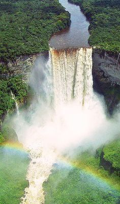 Kaieteur Falls, Guyana. Kaieteur Falls is a waterfall on the Potaro River in Kaieteur National Park, central Essequibo Territory, Guyana. It is 226 metres (741 ft) high when measured from its plunge over a sandstone and conglomerate cliff to the first break. It then flows over a series of steep cascades that, when included in the measurements, bring the total height to 251 metres (822 ft).