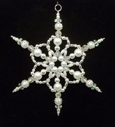 Snowflake Ornament White Pearl Silver and Clear by BeadStudio59