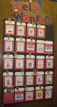 Help Wanted. Teachers make sure that every student has a job each week so that all are contributing to the classroom community. Some teachers have a chart with slots for the names of students currently serving as helpers. A card is then made for each child, and this card is placed in the appropriate slot when that child has a particular room helper responsibility. Teachers appoint students on a rotating basis. Appointment is done at the beginning of the week, and the appointments last one week.