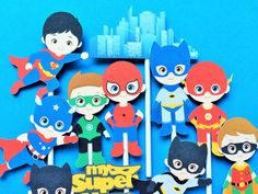 Superhero cupcake toppers 12 superhero cupcake by Fairfable