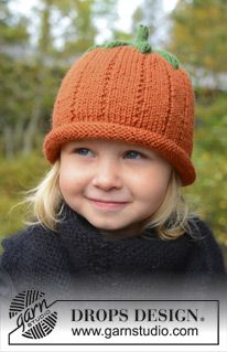 Drops Extra Pattern Halloween: Knitted DROPS pumpkin hat in Karisma Baby Knitting Patterns, Halloween Knitting Patterns, Baby Hats Knitting, Knitting For Kids, Knitting Yarn, Free Knitting, Knitting Projects, Knitted Hats, Crochet Patterns