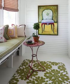 """""""Don't forget about your flooring!"""" says designer Tom Stringer. """"Fresh, inexpensive sisal or hooked cotton rugs for porches and hallways add an element of spring to a space."""""""