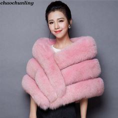 Pretty Barbie Long Pink Cape Coat With White Fur /& Roomy Hood Silky Chic