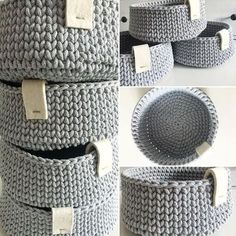 Crochet basket decor ideas 32 new Ideas Crochet Storage, Crochet Diy, Crochet Motifs, Crochet Stitches, Crochet Ideas, Knitting Projects, Crochet Projects, Knitting Patterns, Crochet Patterns