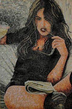 Lady relaxing mosaic art