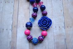 Navy and Hot Pink Bubblegum Necklace Chunky Toddler Necklace Photo Prop by LauraLeeDesigns108 READY TO SHIP on Etsy, $14.99