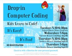 Thursdays | 5pm-6pm I Twin Beaches Branch. Have fun learning the languages of computers. It's fun, It's easy. Younger children will need the help of an adult.