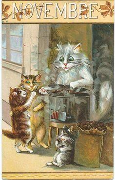 Maurice Boulanger. Novembre. Vintage French postcard.