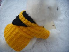 Dog clothes hoodie sweater in yellow and black by CUTIEDOG on Etsy, £15.00