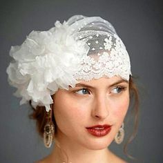 Handmade. Vintage, Retro, Gypsy style lace bridal veil with tulle floral embellishment. Color: White FREE US SHIPPING!
