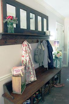 We have a great mudroom area in our house, but when we moved in we didn't have anywhere to store our shoes.check out this Coat Rack made from an Old Door. Furniture Projects, Home Projects, My Home Design, House Design, Country Chic Cottage, Diy Door, Mudroom, Modern Decor, Home Remodeling