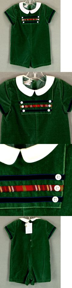 Baby Boys Clothing And Accessories: 242 Nwt Talbots Kids Baby Boy Velvet Green Romper Shortall Holiday 18 M -> BUY IT NOW ONLY: $32.9 on eBay!
