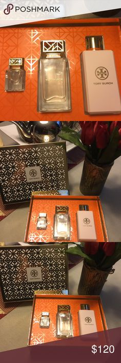 Tory Burch perfume set The original Tory Burch fragrance that captures the classic floral peony scent and crisp notes of grapefruit.  It's a beautiful scent for a night out or casual wear!! I received a couple of sets and have only sprayed it once. Tory Burch Other