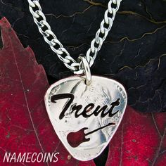 Our coin jewelry is cut by hand into almost any design. From love and friendship to hunting and sports and just about anything else. We specialize in custom pieces and we love to create new ideas and designs. Guitar Pick Necklace, Dog Tag Necklace, Custom Guitar Picks, Coin Jewelry, Jewlery, All Design, Initials, Jewelry Making, Names