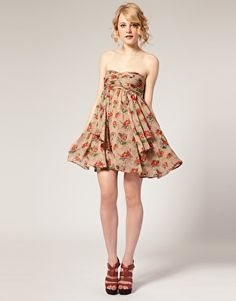 ASOS Bandeau Dress with Floral Layered Chiffon