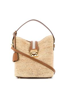 Beige leather and straw engraved push-lock bucket bag from Mark Cross featuring a top handle, a cross body strap, a foldover top with push-lock closure, gold-tone hardware, an engraved logo and a hanging key fob. Mark Cross, Luxury Branding, Louis Vuitton Damier, Bucket Bag, Straw Bag, Women Wear, Beige, Cross Body, My Style