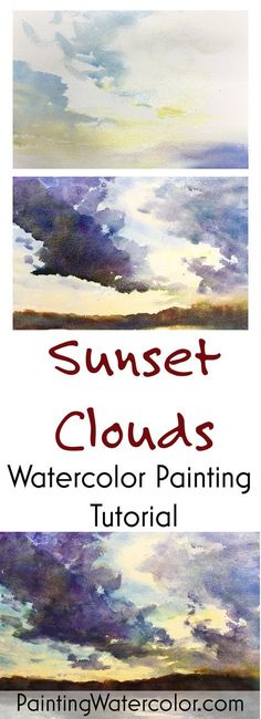 Sunset Clouds watercolor painting tutorial by Jennifer Branch