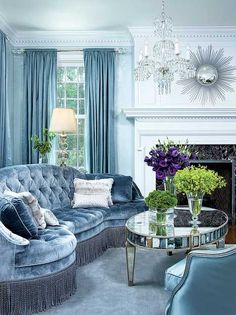 Icy blue living room by Nancy Hill Interiors LOVE the Sofa! - Decoration for House Home Living Room, Living Room Designs, Living Room Decor, Living Spaces, Hill Interiors, Blue Interiors, Blue Rooms, Blue Walls, Beautiful Interiors