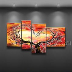 Amazing Modern Abstract Painting Oil Painting On Canvas Panels Gallery Stretched Tree. This 4 panels canvas wall art is hand painted by Flora.Z, instock - $138. To see more, visit OilPaintingShops.com