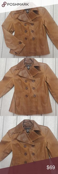 New York & Co Brown Chic Double leather Jacket New York And Co Tan Brown Chic Double Vested Leather Jacket, Size Medium. ***** Good Preowned Condition Measures: Armpit to Armpit 20 inches across New York & Company Jackets & Coats Blazers