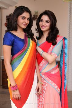 Andrea and Tamanna: saree sorority.