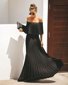 Women Bohemian Off Shoulder Pleated Maxi Dresses Party Dresses For Women, Sexy Dresses, Fashion Dresses, Dresses With Sleeves, Casual Dresses, Blue Summer Dresses, Blue Dresses, Pleated Dresses, Look Fashion