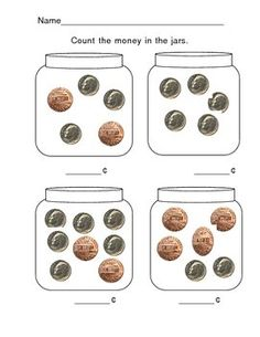 Do you have a loose change jar at home? With this simply worded worksheet, students are asked to count the money in each jar. This is great practice for beginners as they learn to count dimes and pennies together. Counting Money Worksheets, Money Activities, 2nd Grade Worksheets, Kindergarten Math Worksheets, School Worksheets, Money Games, Printable Worksheets, Printables, Math For First Graders