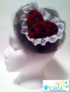 Black Queen of Hearts fascinator hat. Portion of by AmyWonderland