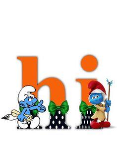 S.T.R.U.M.F.: Litere cu strumfi 2 Alphabet, Math For Kids, Yoshi, Smurfs, Cartoons, Letters, Scrapbook, Blog, Fictional Characters