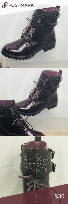 MIA Perry Red Combat Boots Gorgeous NWOT Perry Red Combat Boots Stud embellished ankle strap Side zipper  Size 9 02012BR MIA Shoes Combat & Moto Boots