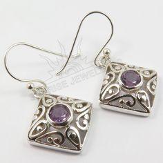 """925 Solid Sterling Silver Natural AMETHYST Gemstone Designer Earrings 1 1/4"""" #SunriseJewellers #DropDangle"""