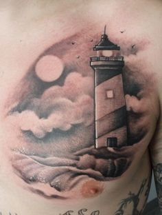 lighthouse tattoos: Like the moon and birds