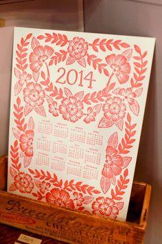 beautiful hand carved linoleum calendar by katharine watson