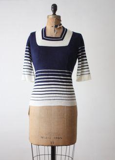 vintage nautical knit blouse