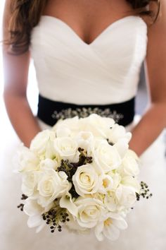 Classic white bouquet with black privet berries to complement the bride's sash. By Jeri Solomon Floral Design. Black And White Wedding Theme, Black Wedding Dresses, Black Weddings, White Bridal, Bouquet Noir, Wedding Bouquets, White Bouquets, Wedding Flowers, Just In Case