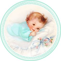 Cute Babies at Bed. Free Printable Cards, Toppers or Labels.   Oh My Fiesta! in english