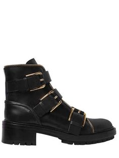 40MM AMBRA BUCKLED LEATHER ANKLE BOOTS