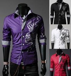 New Mens Fashion Luxury Casual Slim Fit Stylish Long Sleeve Dress Shirts Print in Clothing, Shoes & Accessories, Men's Clothing, Casual Shirts | eBay