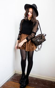 Oasap Wool Brim Hat, H&M Mesh Top, Moms Backpack, Thrifted Velvet Skirt, Vagabond Boots