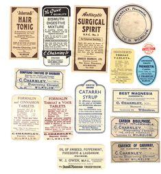 Apothecary Labels vintage medicine label #quackMedicine