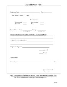 Free Printable Employee Vacation Request Form  Employee Time Off
