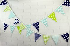 Navy Lime Green & Aqua Fabric Pennant Bunting Banner - great for birthday party decor, nursery, playroom, cake smash, photo prop by LittleFreeRadical on Etsy https://www.etsy.com/listing/84469839/navy-lime-green-aqua-fabric-pennant