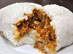 Sticky Rice Roll / Ball, filled with Chinese cruller, pork floss, pickled radish, egg and etc. #Taiwanese breakfast 飯糰